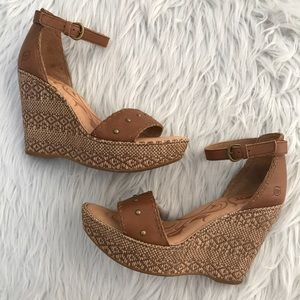 Born Ankle Strap Wedge Sandals